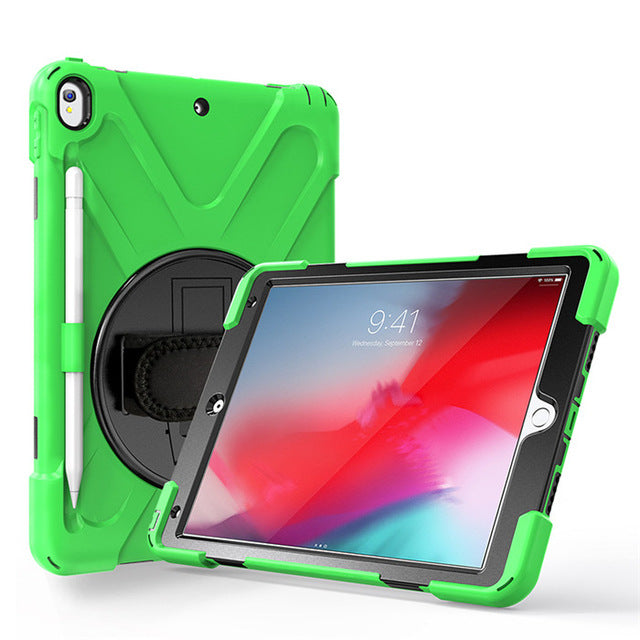 Shockproof 360 Rotating Silicone PC Cover with Hand Strap With Pencil Slot iPad Air 3 (Air 3rd Gen)10.5 2019 - Casebuddy