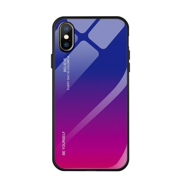 FLOVEME Tempered Glass  iPhone 8 7 6s 6 Plus XR XS Max X Gradient Color Cover - Casebuddy