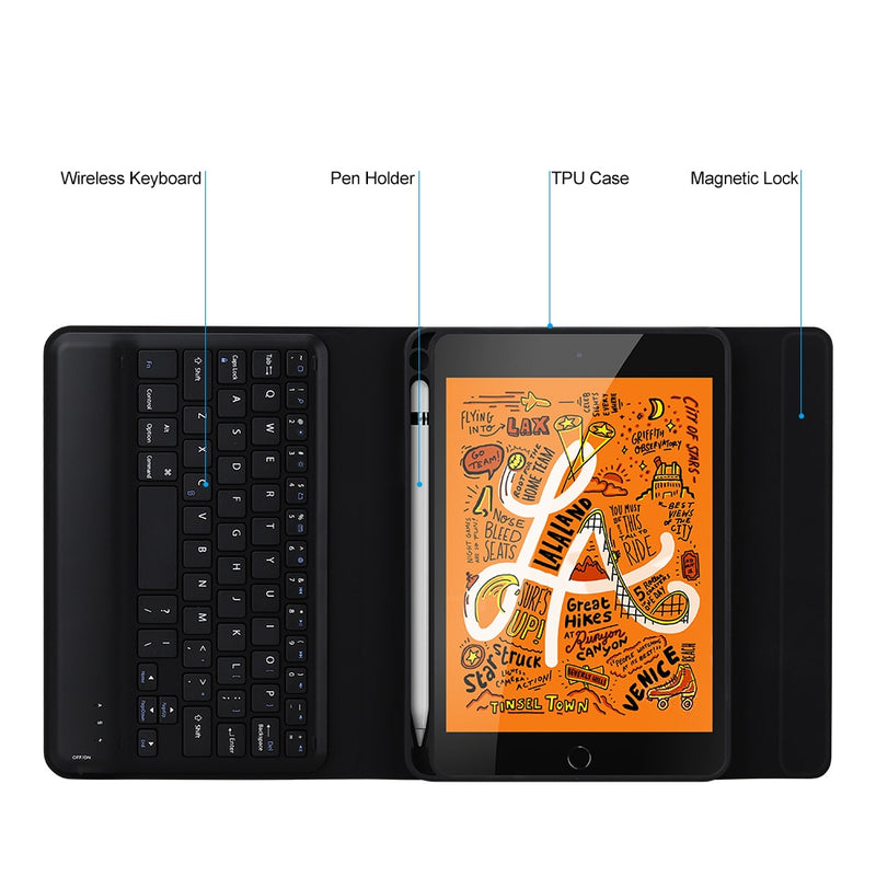 Bluetooth Keyboard Cover iPad mini 5 2019 7.9inch Keyboard Case With Pencil Holder Sleep/Wake Smart - Casebuddy
