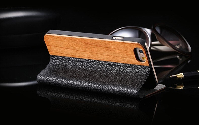 FLOVEME Leather Wallet Bamboo Natural Wood Flip Cas iPhone  X XR XS Max 6 6S Plus 7 8 Plus - Casebuddy