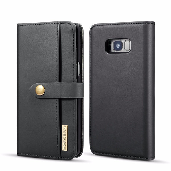 DGMing Luxury Genuine Leather Multi Folded Wallet Cover for Samsung Galaxy Note 9 8 S9 S8 S10 Plus S10E S7 Edge Magnetic Flip Case - Casebuddy