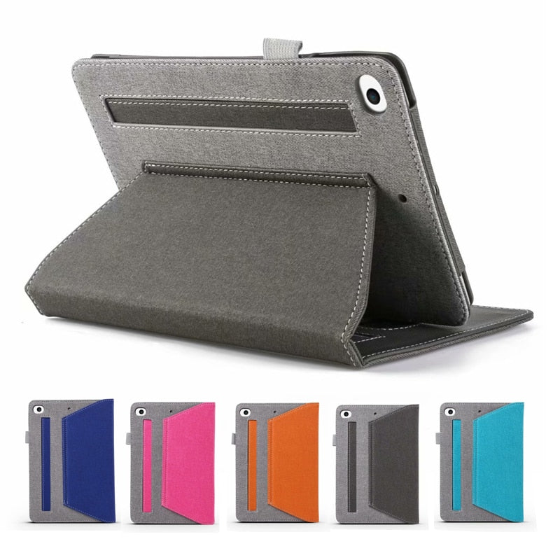 Hand Strap Jean Two-color Stitching Apple iPad Mini 5 2019 Mini 4 3 2 1 Case Wallet Stand Fold Stand Inner Soft Cover - Casebuddy