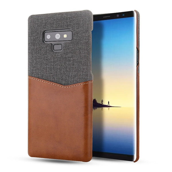 Casing Hard Back Cover Samsung Galaxy Note 9 8 S8 S9 S10 Plus Case Luxury Soft Fabric Thin Leather Card Slot Holder - Casebuddy