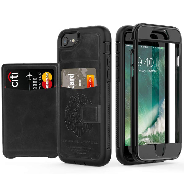 For iPhone 6 6S 7 8 Plus X XS XR XS Max Case Hybrid Tough Armor Slide Card Holder Cover Luxury Magnetic Flip Wallet - Casebuddy