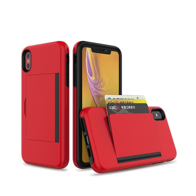 Business Candy Case iPhone X XS 7 8 Plus XS MAX 6 Case Flip Armor Card Slots Cover - Casebuddy