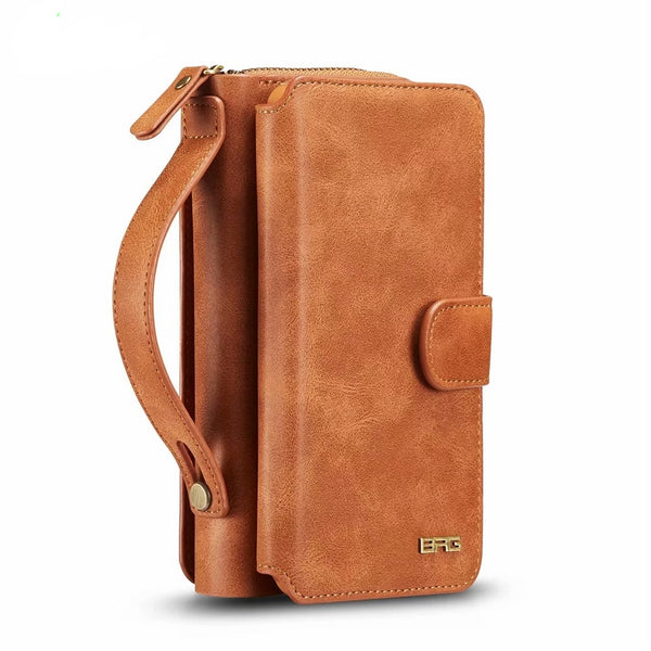 BRG iPhone 5 5SE 6 6S 7 8 Plus X XS Max XR Leather Zipper Wallet Case Removable Pouch Flip Card Back Cover Soft - Casebuddy