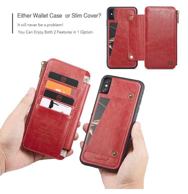 CaseMe Real Leather Wallet Flip Apple iPhone X XR XS MAX 8 7 6 6S Plus Detachable Zipper Pouch Cover - Casebuddy