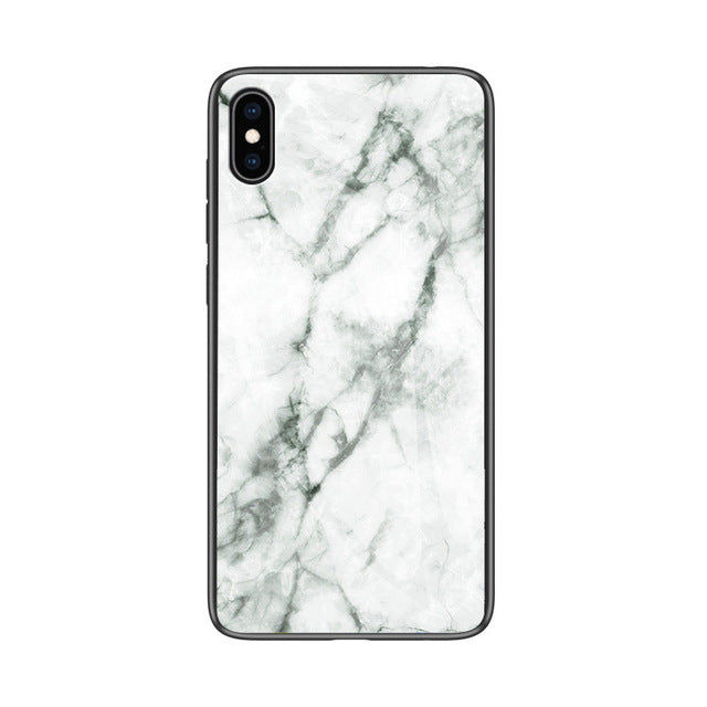 FLOVEME Marble Glass Case iPhone X XR XS MAX  7 8 6 6s Plus Tempered Glass Back - Casebuddy