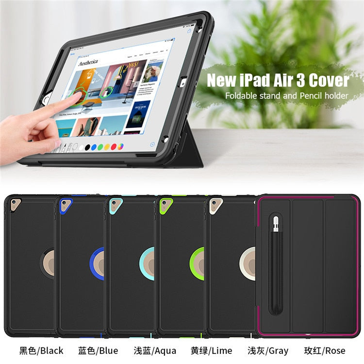 360 Full Protection Case With Pencil Holder iPad Air 10.5 2019 Kids Safe Shockproof Heavy Duty TPU Hard Cover Kickstand - Casebuddy