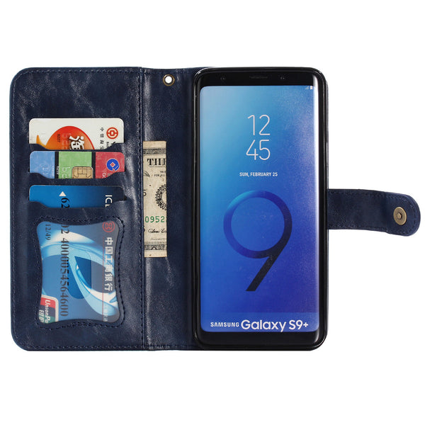 2 in 1 Magnetic Leather Wallet Case Samsung S8 S9 S10 Plus Note 9 8 A5 J3 J5 J7  J4 J6 Case Magnet Removable Cover - Casebuddy