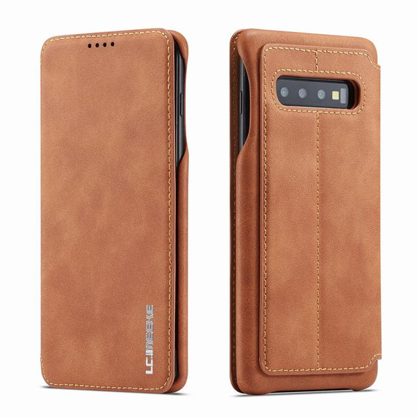 Magnetic Flip Case For Samsung Galaxy S10 S10e Plus Luxury Wallet Case Cover Plain Vintage Leather - Casebuddy
