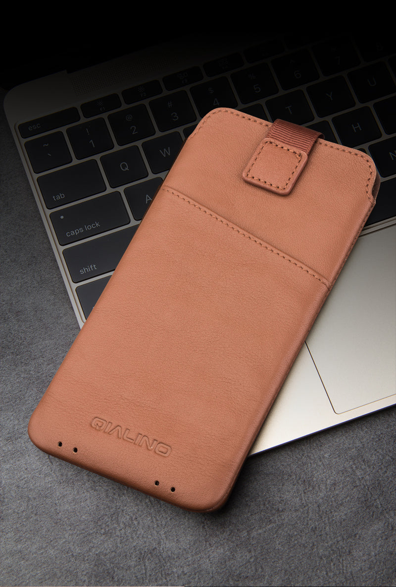 QIALINO Leather Pouch iPhone X XS Luxury Genuine Leather Wallet Pouch Card Slots 5.8 Inches - Casebuddy