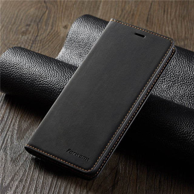 Luxury Leather Magnetic Flip Case for iPhone Xr Xs Max X 8 7 6 6s Plus 5 SE Card Wallet Holder Stand Cover - Casebuddy