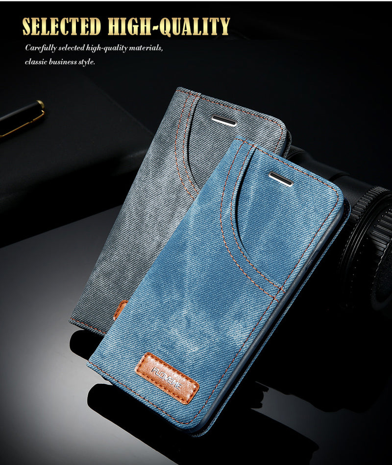 FLOVEME Jean Leather iPhone 6 6S 7 8 8S Plus Denim Cloth Anti-knock Flip Card Holder Shells - Casebuddy