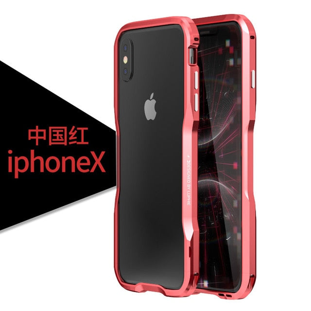 Luxury Metal Bumper Aluminium Frame Hard 3D Protective Cover for iPhone X XS MAX XR 7 8 Plus Case - Casebuddy
