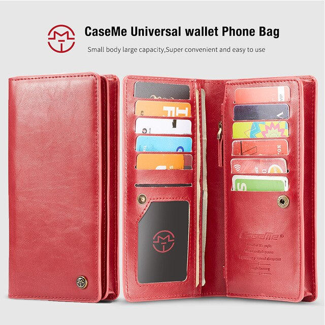 CaseMe Universal 11 Card Wallet Leather iPhone X XR XS Max 8 7 6 6S Plus 5 5S 5SE 4G Phones Cover Pouch - Casebuddy
