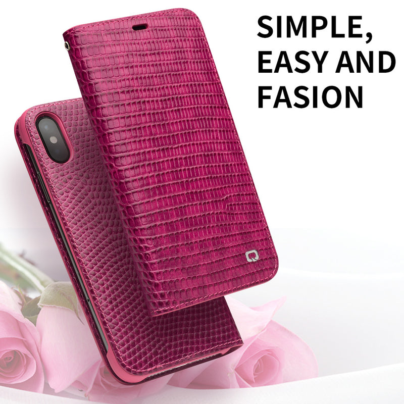 QIALINO Genuine Leather iPhone X  XS XR XS MAX Fashion Luxury Handmade Women Card Slot Flip Cover - Casebuddy
