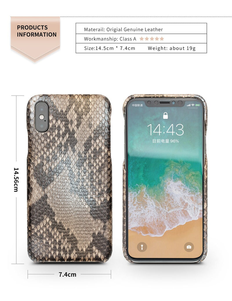 QIALINO Luxury Custom-built Python Skin Genuine Leather iPhone X XS Fashion Back Cover - Casebuddy