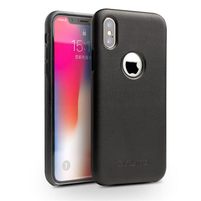 QIALINO High Grade Leather Case for iPhone X XS Ultra Thin Genuine Leather Cover - Casebuddy