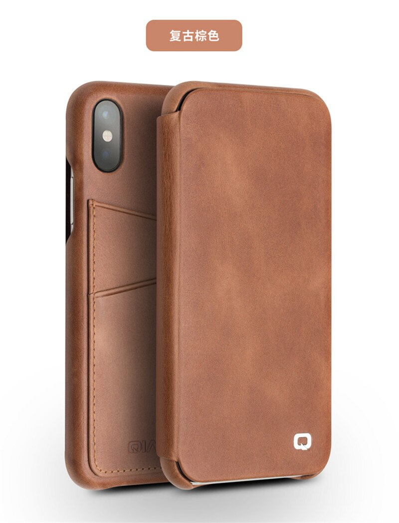 QIALINO Leather Case iPhone X XS With Business Card Holder Slim Flip Case Premium Folding - Casebuddy