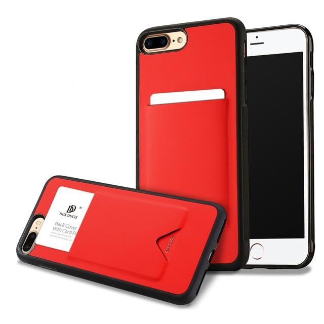 DUX DUCIS Fashion Card Holder iPhone 8 7 6 6s 8S Plus Cover Luxury Leather Non-Skid TPU Silicone - Casebuddy