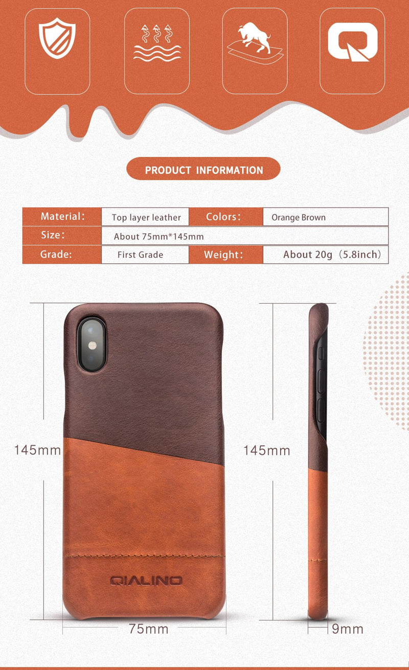 QIALINO Genuine Leather Cover iPhone X XS Fashion Luxury Ultra Thin Pure Handmade 5.8 Inch - Casebuddy