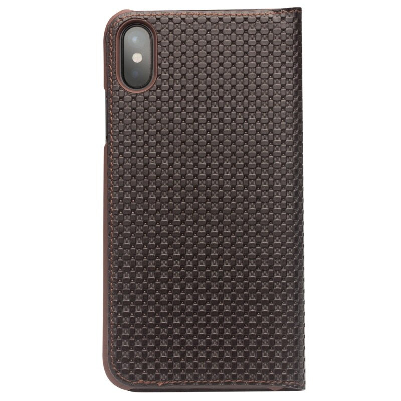 QIALINO Case for iPhone X XS Grid Texture Auto-absorbed Cowhide Leather Card Holder Luxury - Casebuddy