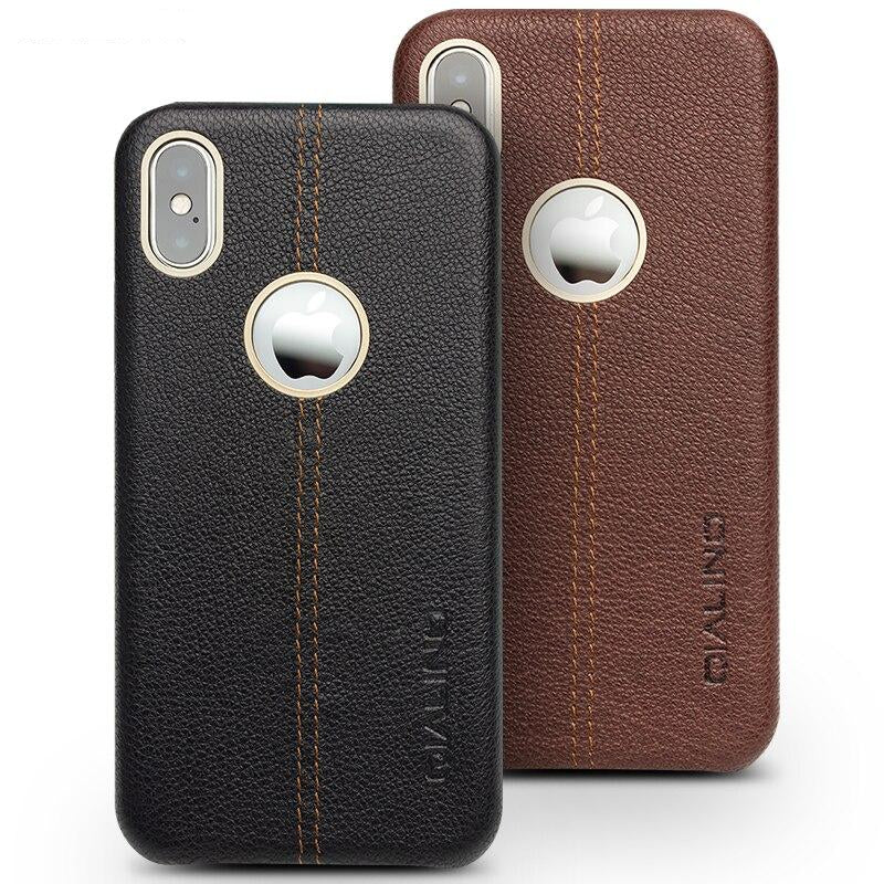 QIALINO Luxury Genuine Leather iPhone X XS Pure Handmade Fashion Business Back Cover - Casebuddy