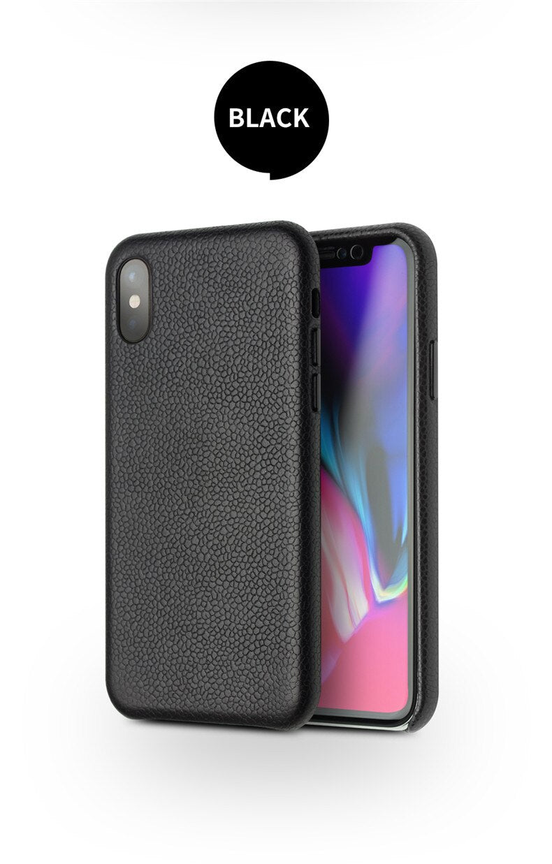 QIALINO Luxurious Genuine Leather Back Case for iPhone X XS Fashion Luxury Handmade - Casebuddy