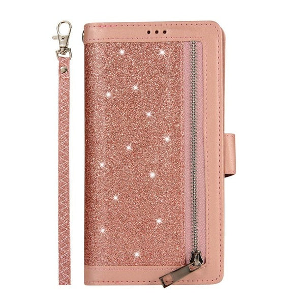 Zipper Flip Cover Samsung S10 S9 S8 Plus Note 8 9 S7 Edge PU Leather Glitter Wallet Book Cases - Casebuddy