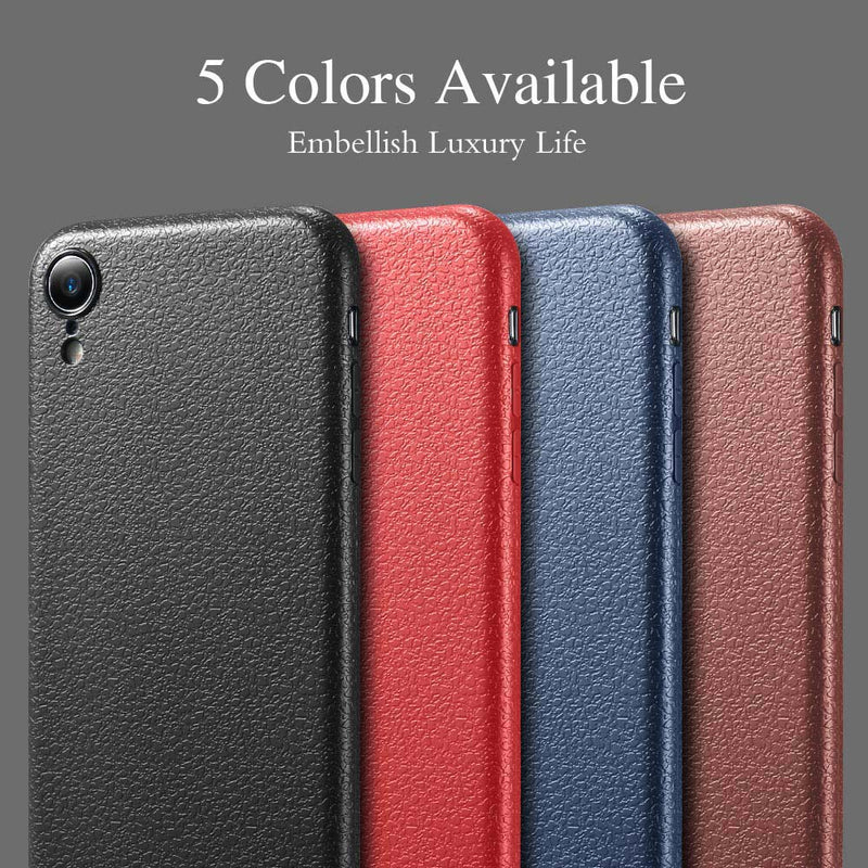 TPU Soft Leather iPhone XS Max XR X Ultra Thin Back Pack Lichi Pattern Skin - Casebuddy