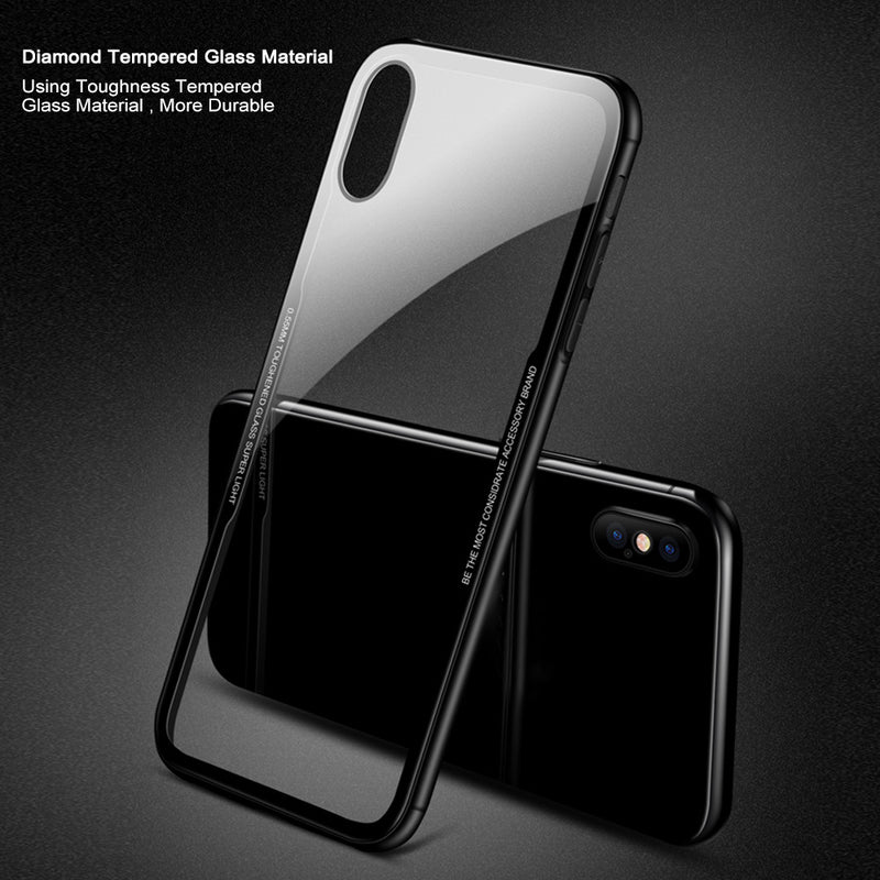 FLOVEME Tempered Glass iPhone X XR Xs Max Transparent Protective Slim Case - Casebuddy