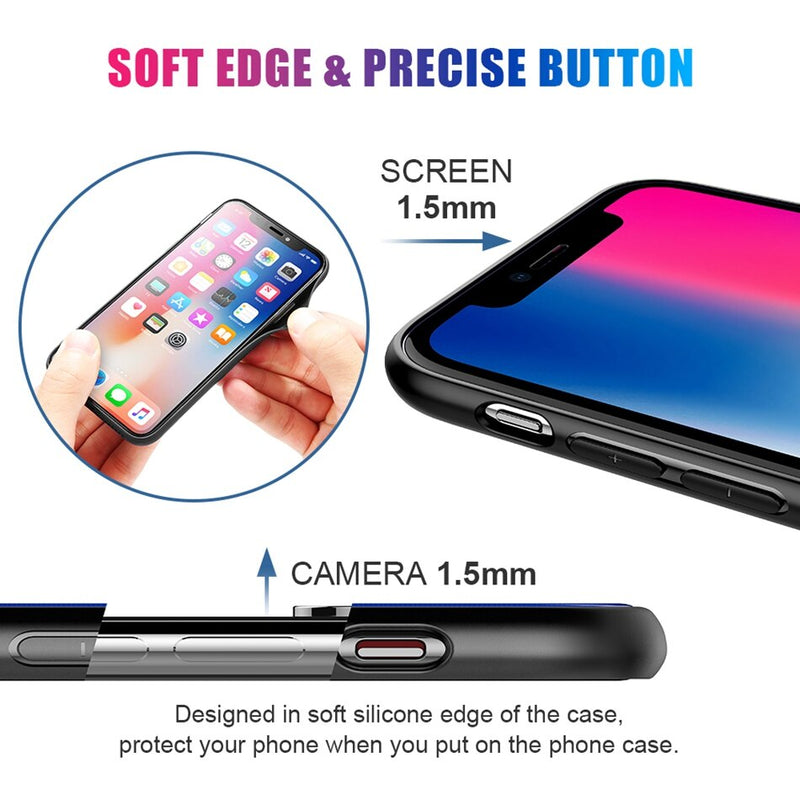 FLOVEME Aurora Luxury Tempered Glass Protective Case For iPhone X XS MAX 8 7 6 Plus Back TPU Rubber - Casebuddy