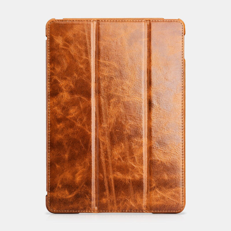 iCarer High Quality Business Oil Wax Genuine Leather Case iPad Air 2 Tri-fold Stand Magnetic Smart Cover - Casebuddy