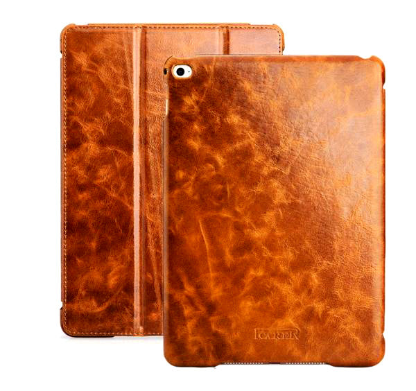 "iCarer Oil Wax Vintage Genuine Leather Folio Case iPad Air 2 9.7"" Ultra-thin Standing Sleeve - Casebuddy"