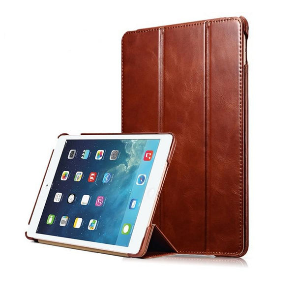iCarer iPad Air 2 Case Genuine Leather Auto Sleep/Wake Folio Flip Vintage Ultra-thin Standing Sleeve - Casebuddy