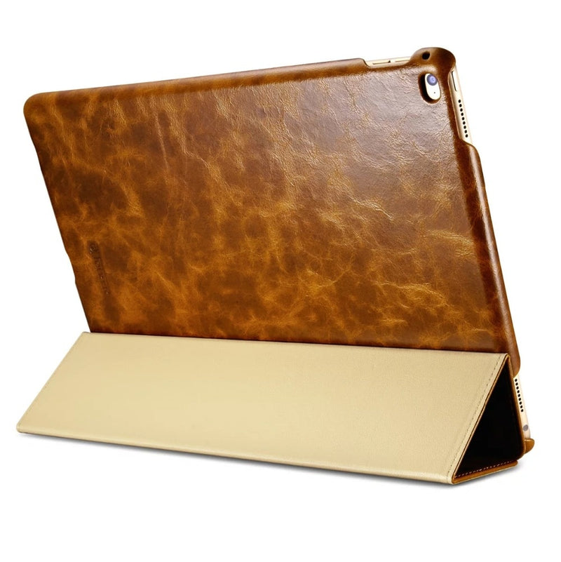 iCarer Business Retro Leather Case for iPad Pro 12.9 2017 2016 High Quality Oil Wax Genuine Leather Cover - Casebuddy