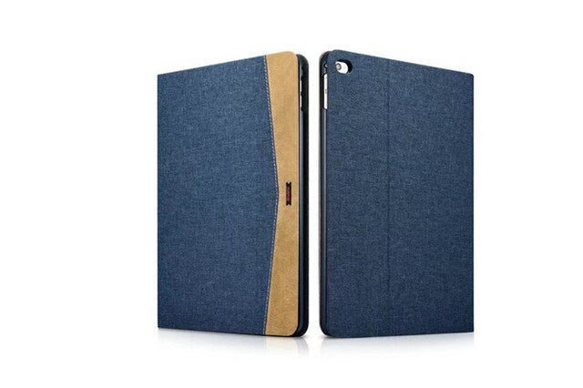iCarer Color Sitching Denim Retro Leather iPad air 2 Super Slim Flip Stents Dormancy Stand Case - Casebuddy
