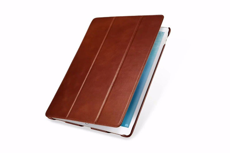 "iCarer Vintage Genuine Leather Flip Case iPad Pro 12.9""(2017) Business Tri-fold Stand Leather Flip Smart Cover - Casebuddy"
