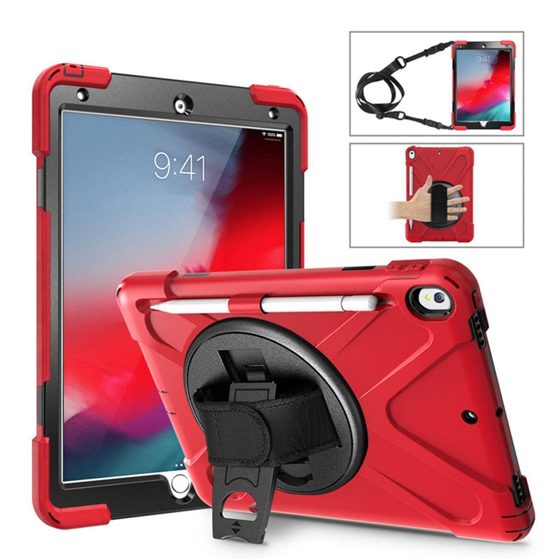 Pencil Holder Shockproof Case iPad Air 10.5 2019 Kids Safe Heavy Duty Silicone Hard Cover Shoulder strap - Casebuddy