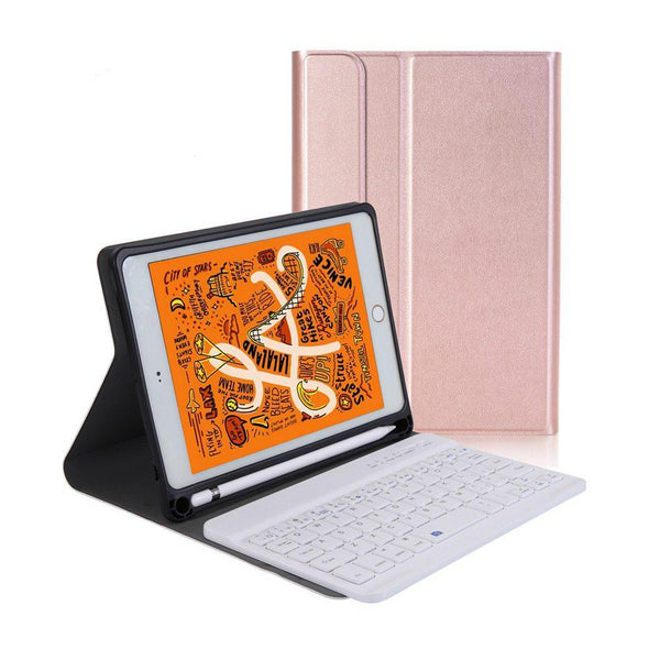 Slim iPad Mini 5 2019 Keyboard Case 2 in 1 Removable Custer Leather Stand Cover Build-in Pencil Holder - Casebuddy