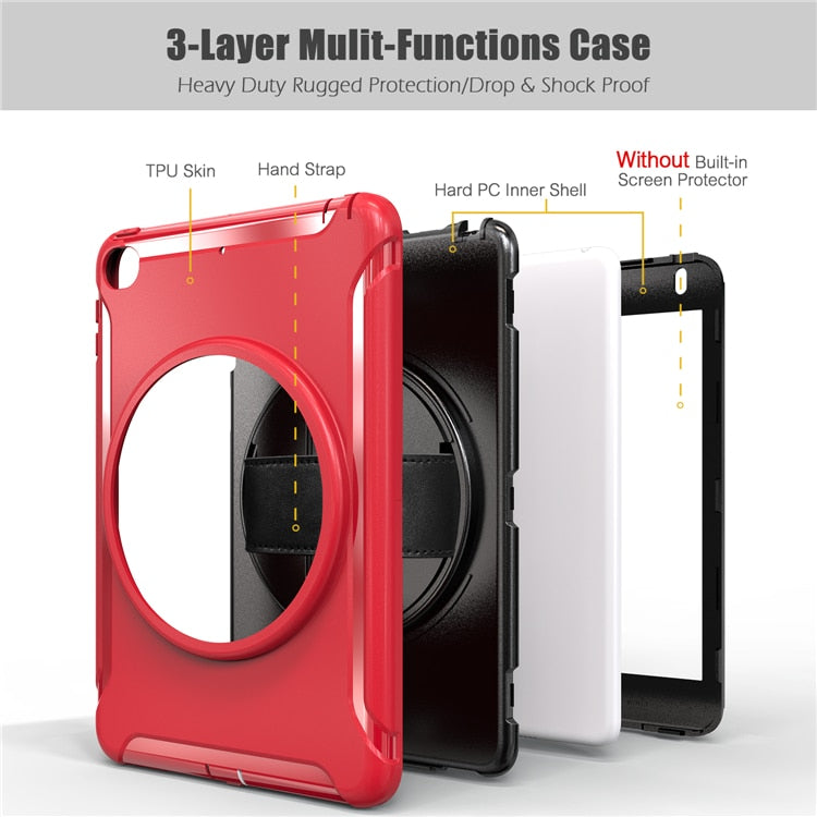 Spiderman iPad Mini 5 2019 Case Tough Box Kids Safe Shcokproof Rotating Stand Hand Holder Silicone PC - Casebuddy