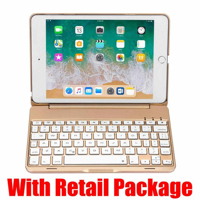 Ultra Thin 7 Colors LED Back Light Aluminum Wireless Bluetooth Keyboard Case Cover iPad Mini 4th Gen - Casebuddy