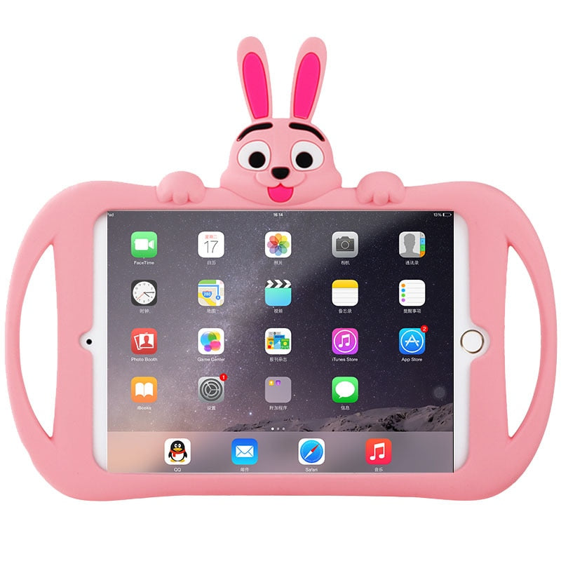 Kids Case iPad Mini 5 2019 Lovely Rabbit Children Silicone Soft Washable Back Stand Cover - Casebuddy