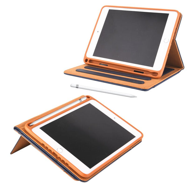Flip Retro Leather Double Stand Wallet Cover iPad Mini 1 2 3 4 5 Case With Pencil Holder Built In Multifunction - Casebuddy