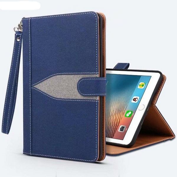 iPad mini 5 2019 Mini 4 3 2 1 Case Wake Up Sleep Smart Jean Leather Stand Cover With Strap Honeycomb Cooling - Casebuddy