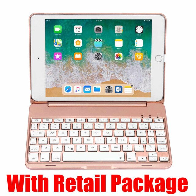 iPad Mini 5 2019 Keyboard Case With 7 Colors LED Backlit Aluminum Wireless Bluetooth Keyboard With Protective Stand Cover - Casebuddy