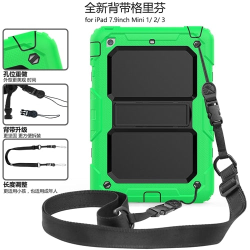 Safe Shockproof Armor Cover iPad Mini 4 5 2019 Hand Strap & Shoulder Strap Full Body Cover Combo Armor - Casebuddy