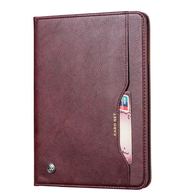 Business Card Retro Leather Case Apple iPad Mini 5 4 3 2 1 Folding Stand Smart Case With Pencil  Holder - Casebuddy
