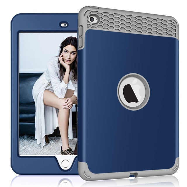 "iPad Mini 4/Mini 5 7.9"" 2019 Case Heavy Duty Shockproof High Impact Resistant Rugged Hybrid 3 Layer Protective Cover - Casebuddy"